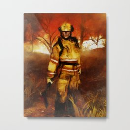 FIRST RESPONDER - Firefighter, Bushfires, Emergency Services Metal Print