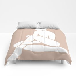 tan abstract nude 2 Comforters