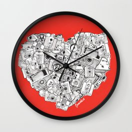 Camera Heart - on red Wall Clock