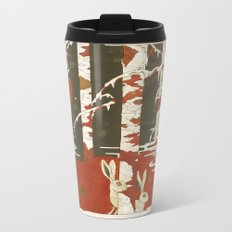 Rabbits playing in the snow | Senjiro Nakata Metal Travel Mug
