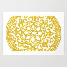 Mustard Floral 4x6 rug Art Print