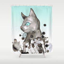 Wild grunge cat Shower Curtain