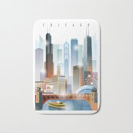 Chicago city skyline painting Bath Mat