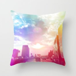 blue cloudy sky on the road with colorful bokeh light abstract Throw Pillow