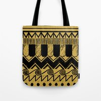 egypt Tote Bags featuring Aztec Egypt by DeMoose_Art