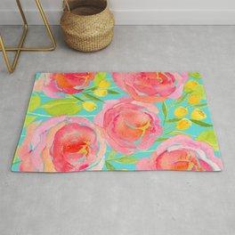 Pink Peonies On Turquoise - Watercolor Floral Print  Rug