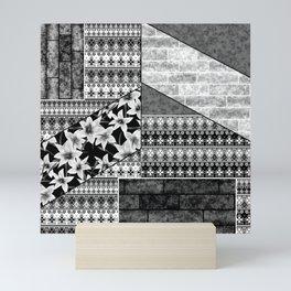 Black and white , patchwork Mini Art Print