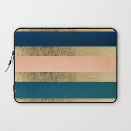 Geometrical coral navy blue burgundy gold watercolor Laptop Sleeve