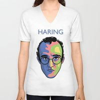 keith haring V-neck T-shirts featuring Haring by guissëpi