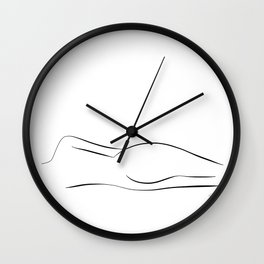 Minimalistic line drawing of a nude woman Wall Clock