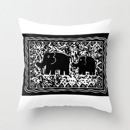 Elephant and calf Throw Pillow