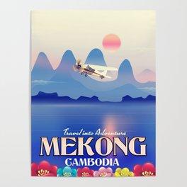 Mekong Cambodia vacation poster. Poster