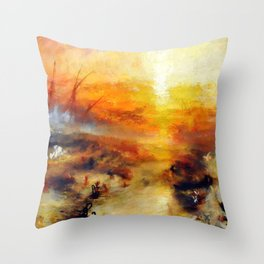 """J. M. W. Turner """"Slavers Throwing overboard the Dead and Dying, Typhon coming on - The slave ship"""" Throw Pillow"""