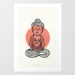 Salmon Buddha Art Print