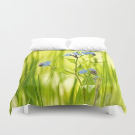 Lovely Morning Meadow Forget Me Not #decor #society6 Duvet Cover