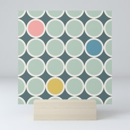 Scalloped Circles in Sage Green and Mint Mini Art Print