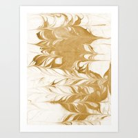 Marble gold swirl ocean watercolor abstract art marbled suminagashi japanese spilled ink Art Print