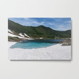 Fantastically summer mountain landscape of Kamchatka Peninsula: Blue Lake, snow and ice along shores Metal Print