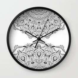 Lacy Flames Mandala in Black and White Wall Clock