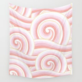 Pink Auspicious Waves Wall Tapestry