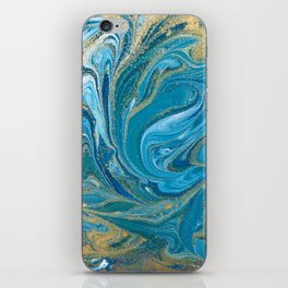Blue & Gold Painting iPhone Skin