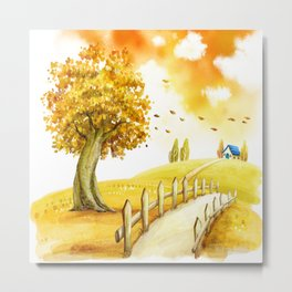 On My Way Home - Persimmon Tree Metal Print