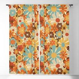 70's Retro Floral Patterned Prints Blackout Curtain