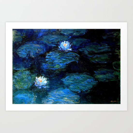 monet water lilies 1899 blue Teal by purelove