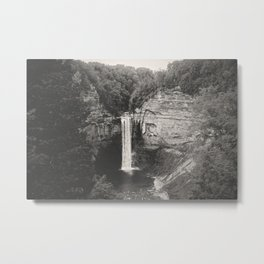 Taughannock Falls in Black and White Grunge Metal Print