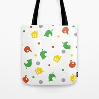 animal crossing Tote Bags featuring Animal Crossing by Bradley Bailey
