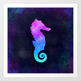 SEAHORSE IN SPACE // Animal Graphic Art // Watercolor Canvas Painting // Modern Minimal Cute Art Print