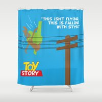 toy story Shower Curtains featuring Toy Story - Falling With Style by Gary Wood