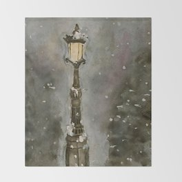 Lamp Post in Blue Throw Blanket