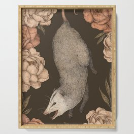 The Opossum and Peonies Serving Tray