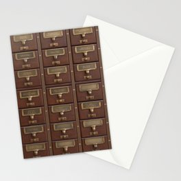Vintage Library Card Catalog Drawers Stationery Cards