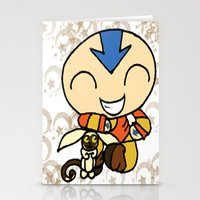 powerpuff girls Stationery Cards featuring PowerPuff Aang by auroranq