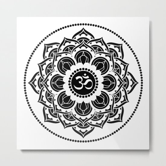 Black and White Mandala | Flower Mandhala Metal Print