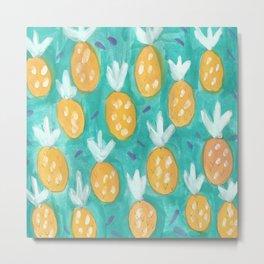Fresh Pineapples Metal Print