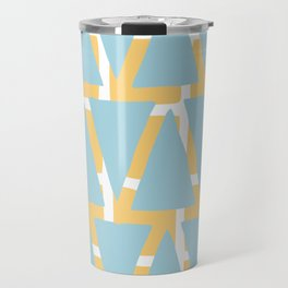 Blue and Yellow Arrowhead Print Travel Mug