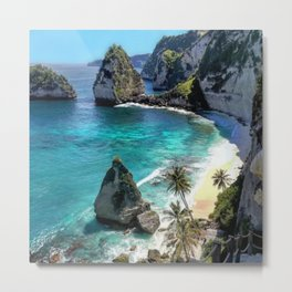 Turquoise Sea on Diamond Beach, Penida Island, Bali Metal Print