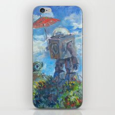 Robot with Parasol iPhone & iPod Skin