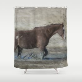 Mustang Getting Out of a Muddy Waterhole the Slow Way painterly Shower Curtain
