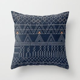 N53 - Blue Indigo Oriental Antique Traditional Moroccan Style Artwork Throw Pillow