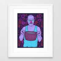 cook Framed Art Prints featuring Cook (fiolet) by Lime
