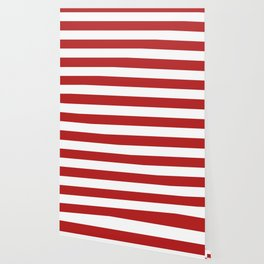 Red cola - solid color - white stripes pattern Wallpaper