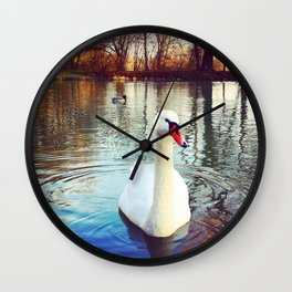Swan in the Park Wall Clock