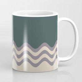 Magic Dust Muted Purple PPG13-24 & Sourdough Beige Wavy Horizontal Stripes on Night Watch Green Coffee Mug
