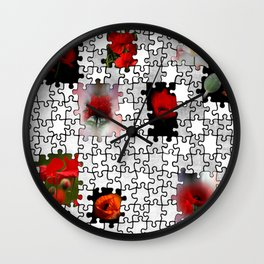 poppy love in puzzle design Wall Clock