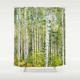 Sunny Day in Beautiful Birch Grove Landscape #decor #society6 #buyart Shower Curtain