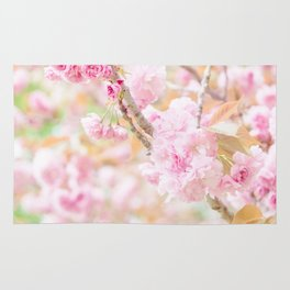 double cherry blossoms in japanese garden Rug